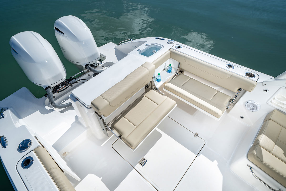 The cockpit has 2 fold-out seats that provide seating when entertaining.